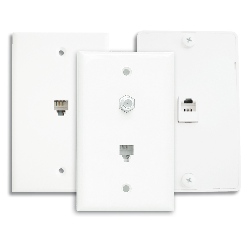 telephone single-gang wall plate  white